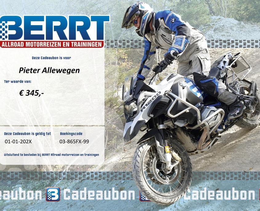Cadeaubon BERRT Reizen en Trainingen offroad voor allroad motoren